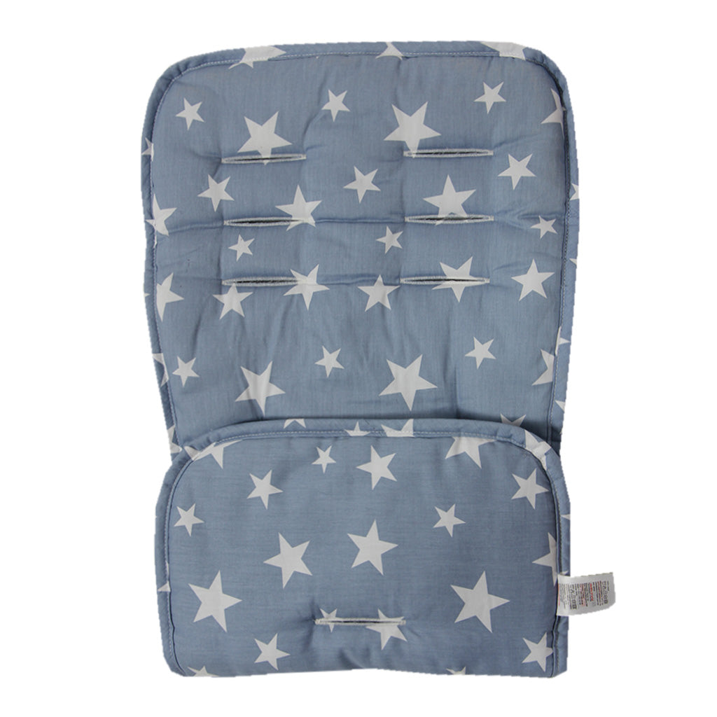 Reversible Pushchair Liner - Denim and White Star