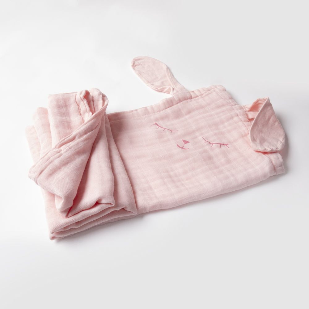 Light Pink bamboo swaddle blanket with Dark Pink Bunny Print & Pink Floppy Bunny Ears