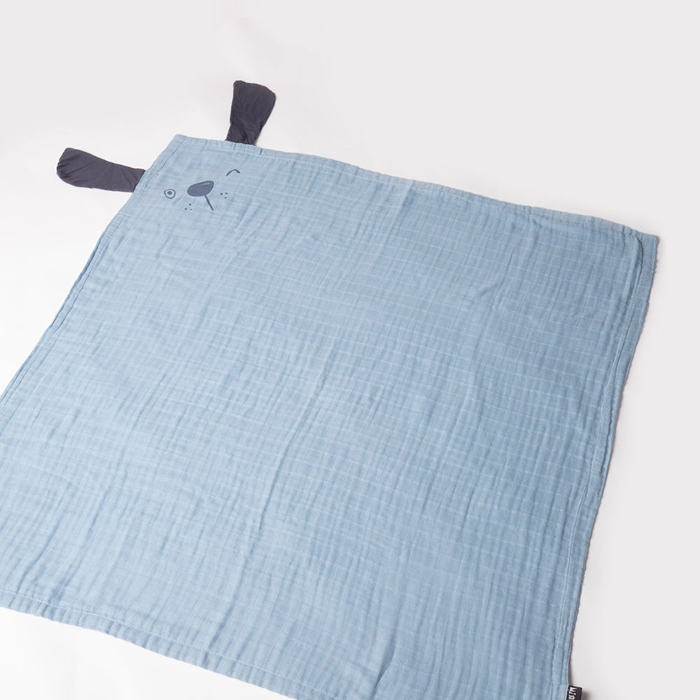 Light Blue bamboo swaddle with Dark Blue Dog Print & Blue Floppy Dog Ears
