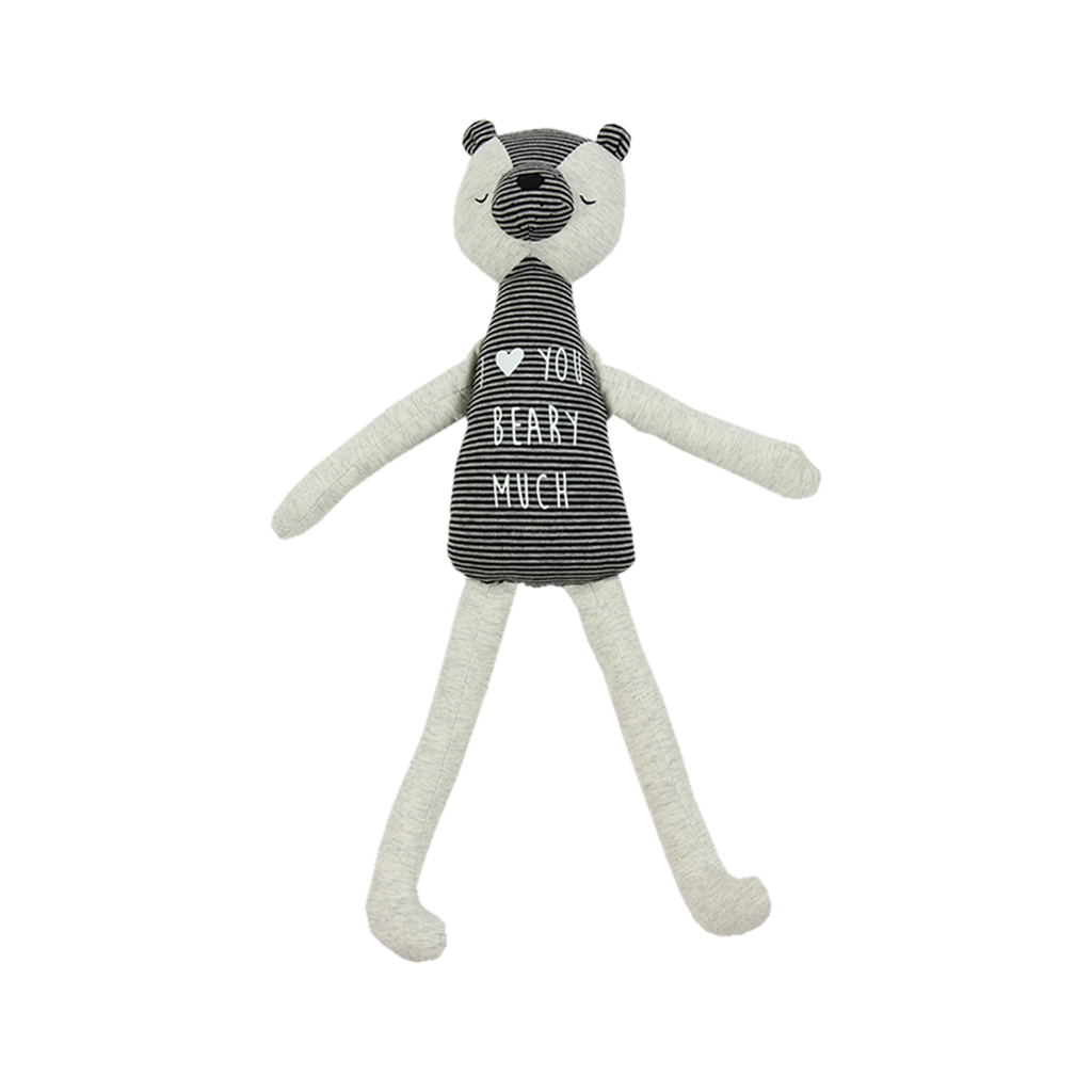 "Light Grey Bear with Grey Striped Body and Features. Says ""I Love You Beary Much"" on the tummy."