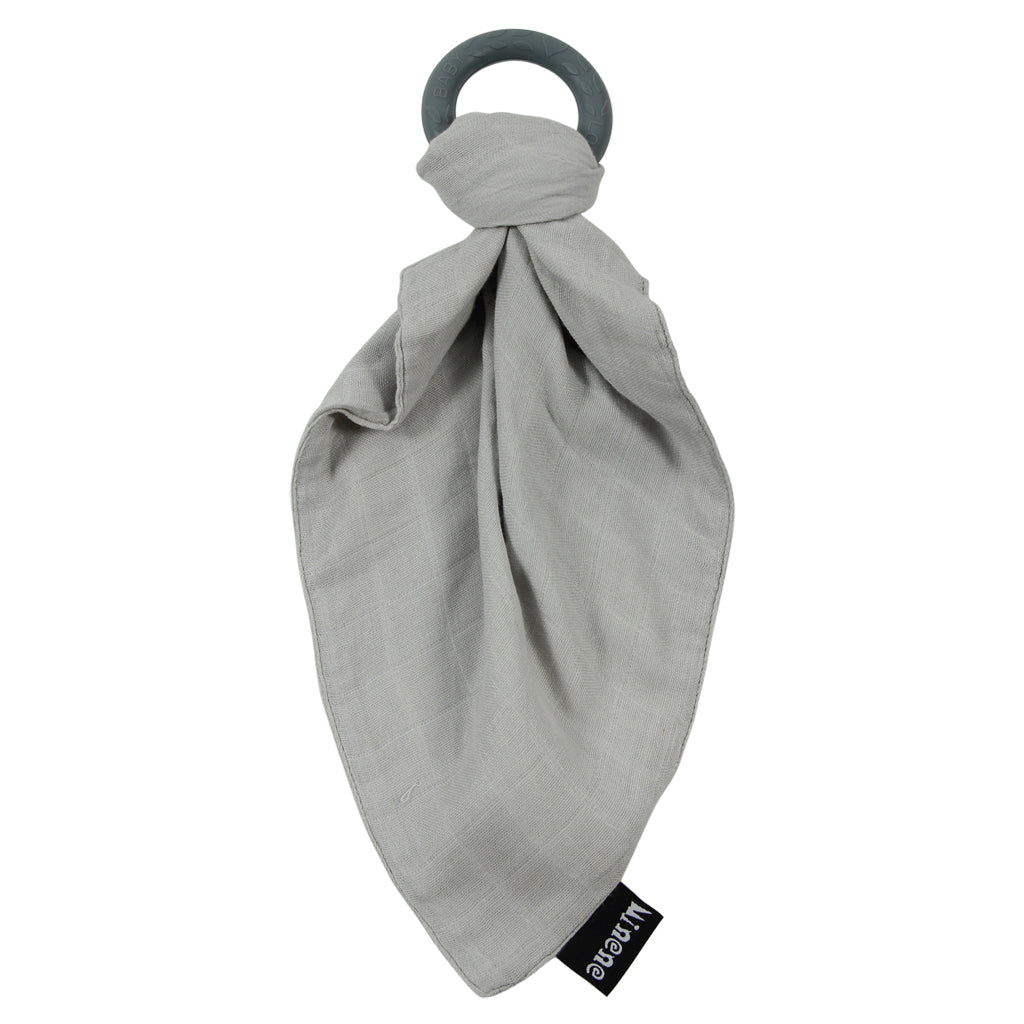 Grey Bamboo Muslin Cloth with Grey Silicone Teething Ring