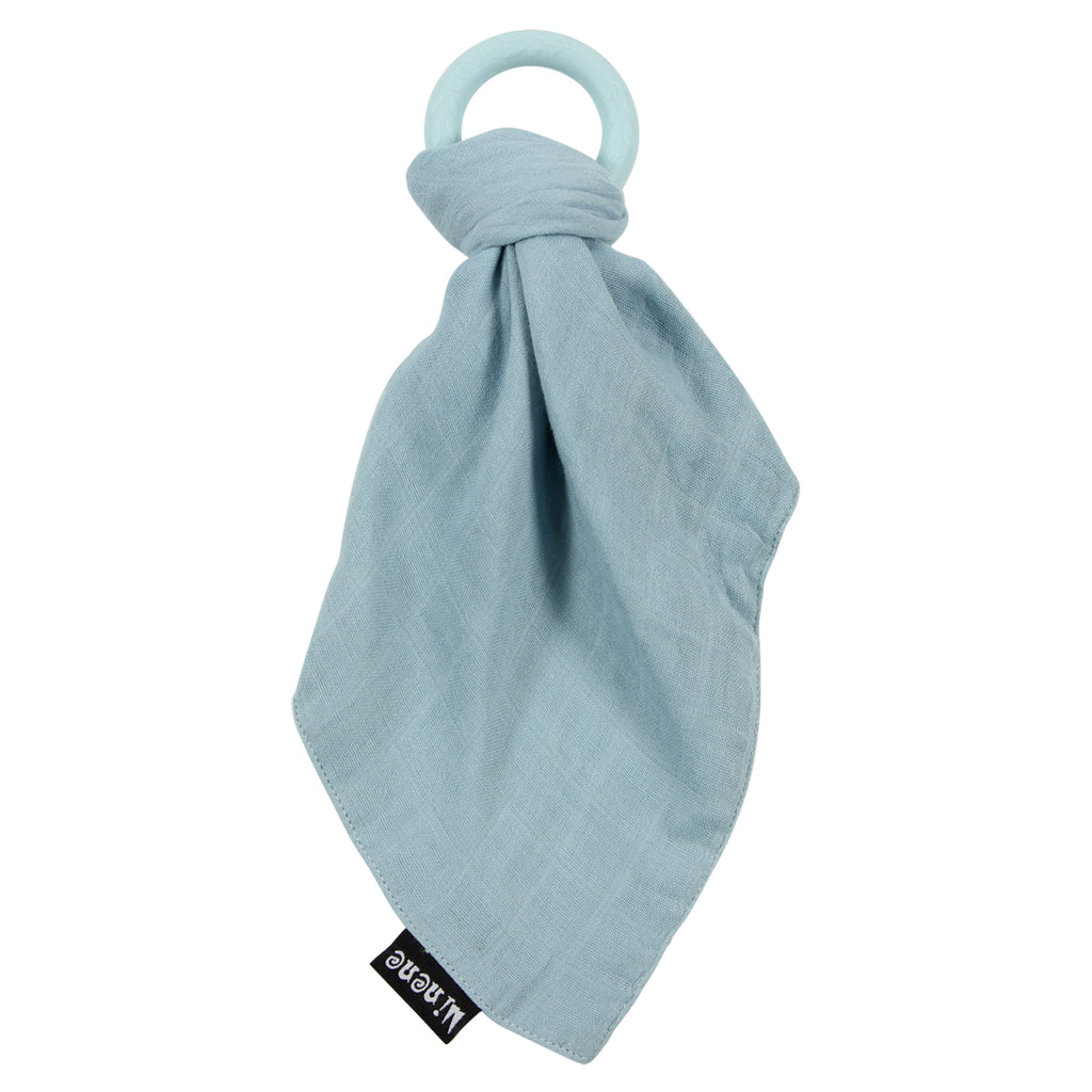 Blue Bamboo Muslin Blanket with Blue Silicone Teething Ring