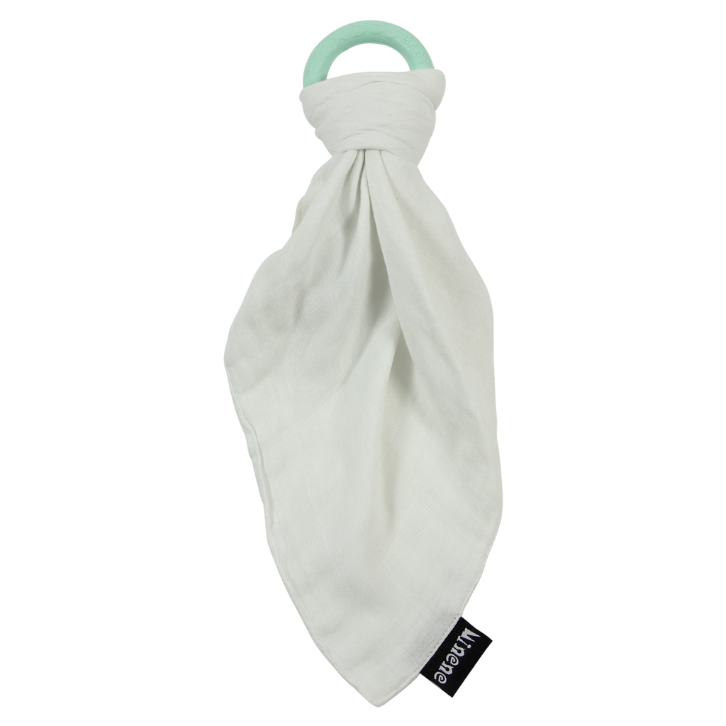 White Bamboo Muslin Cloth with Aqua Textured Silicone Teething Ring.