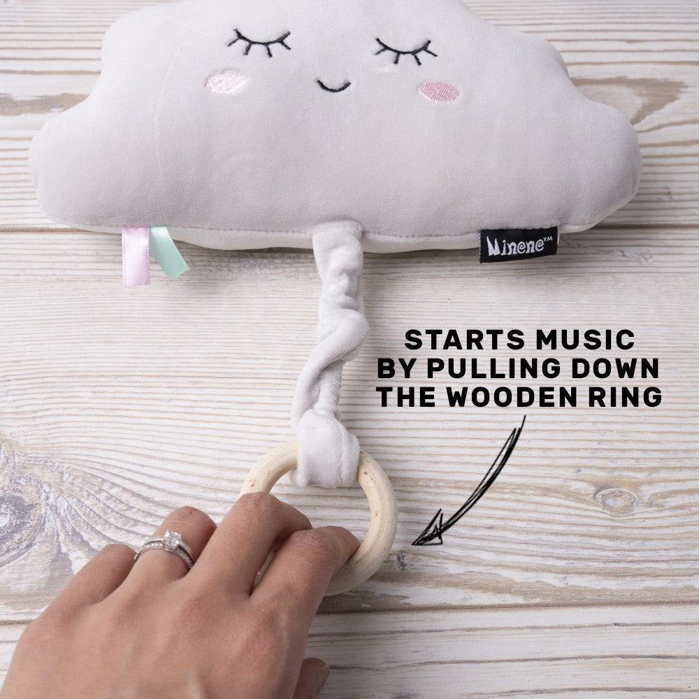 Grey Cloud Shape music toy with Wooden Ring Pull.  Plays Brahms Lullaby for 1min15sec
