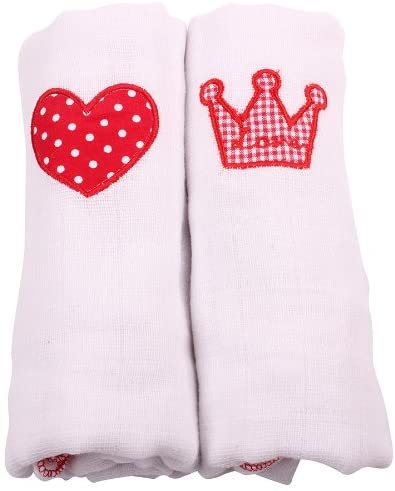 Muslin Squares 2 Pack - White Heart and Crown