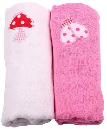 Muslin Squares 2 Pack - White Toadstall and Pink Ladybird