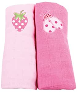Muslin Squares 2 Pack - Pink Strawberry and ladybird