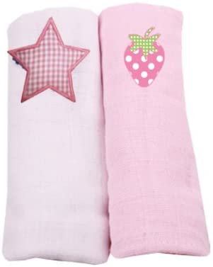 Muslin Squares 2 Pack - White Star and Pink Strawberry