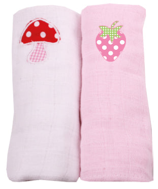 Pink strawberry and red toad stall applique muslins