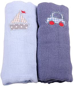 Muslin Squares 2 Pack - Light Blue Boat and Blue Car