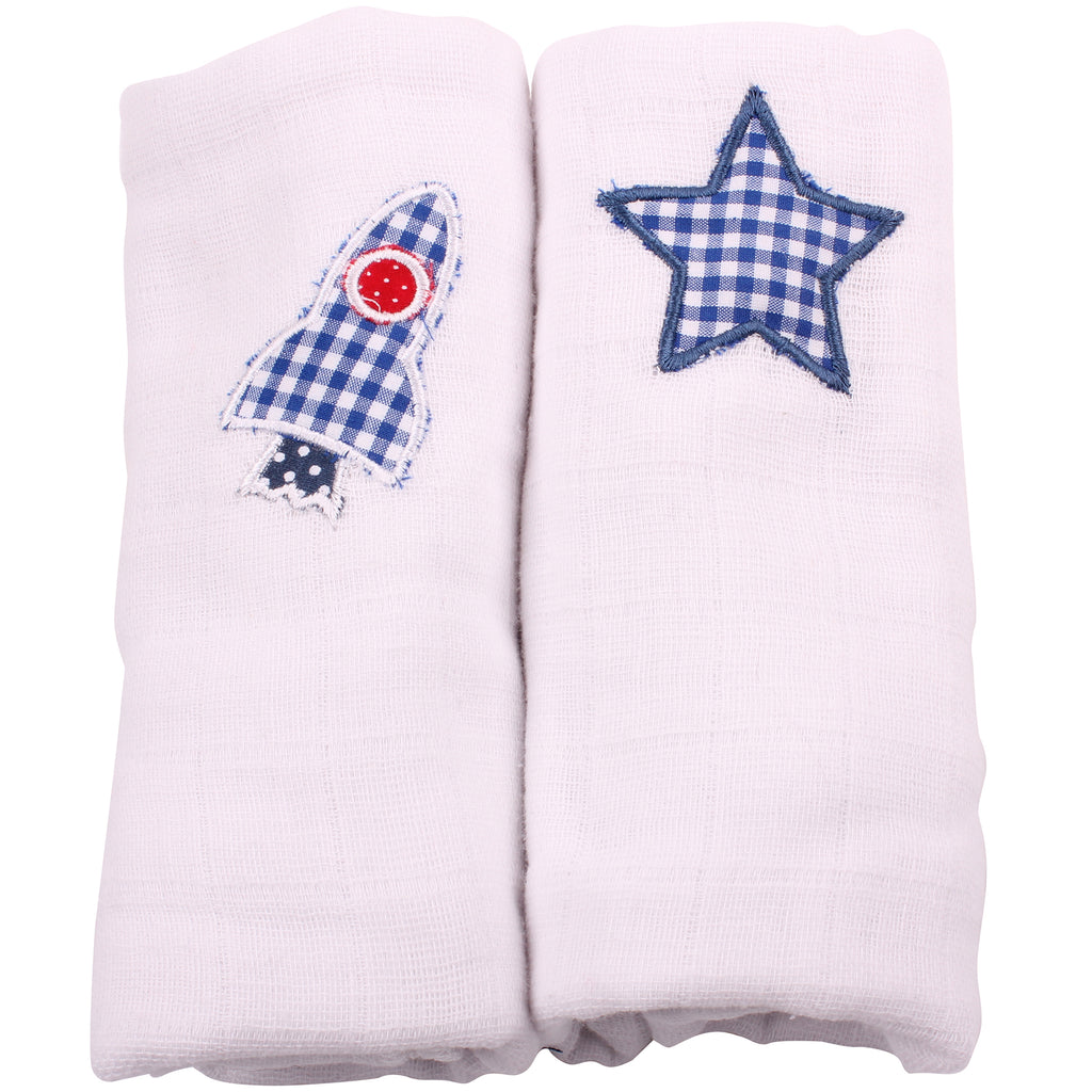 Muslin Squares 2 Pack - White Blue Gingham Rocket and White Star