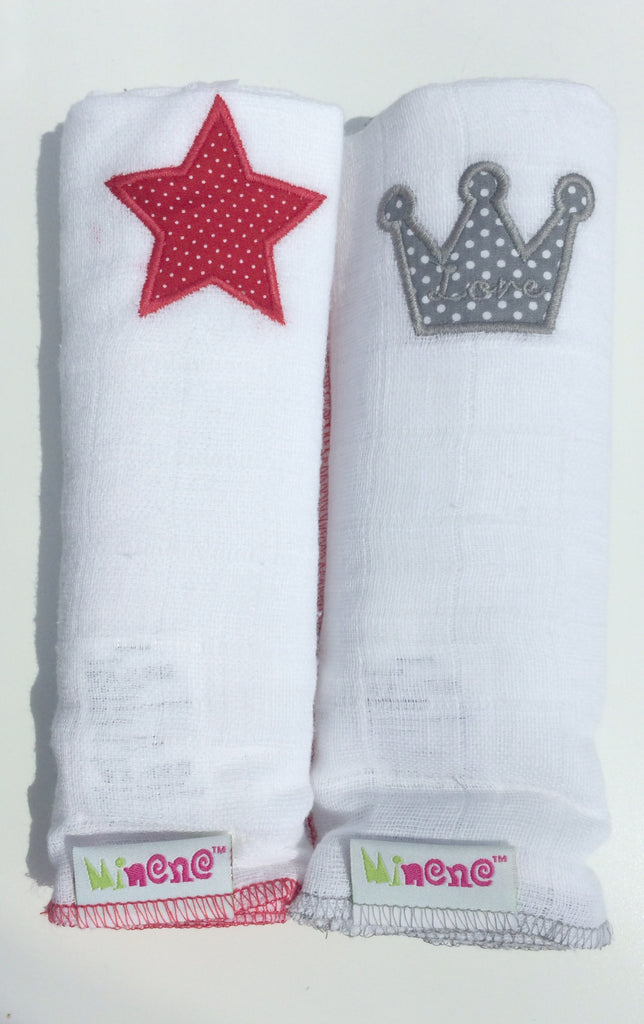 Pair of muslin squares- Red star and Grey Crown
