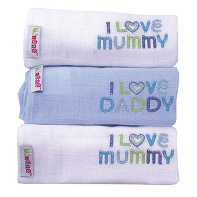 3 Pack Cotton Muslins- White / Blue/ White