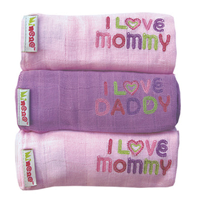 3 Pack Cotton Muslins - Pink/ Lilac/ Pink