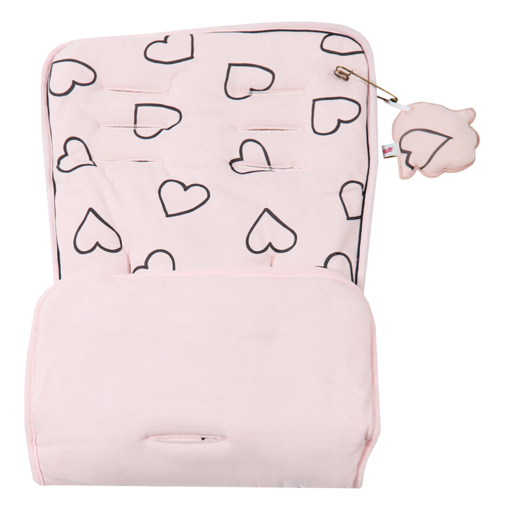 Baby Pink with Black Hearts Print. Plain pink on reverse. Pushchair / Car Seat
