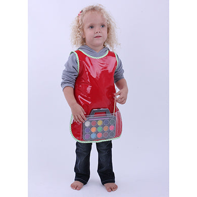 Red child paint apron with paints and paintbrush. 30 x 50cm in size