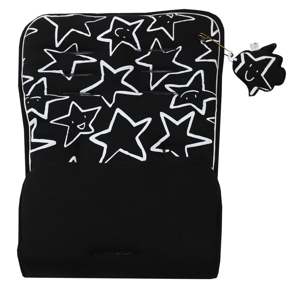 Black Liner with White star Print. Plain black Reverse. Pushchair/ Car seat