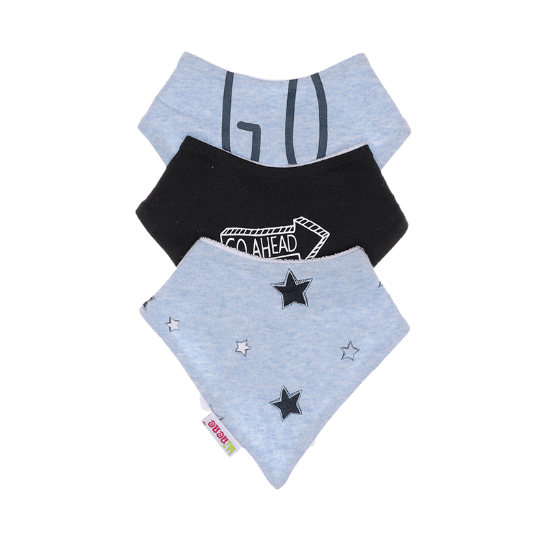 "Each set include three bibs made from 100% cotton with a towel cotton reverse. Popper closure.  Design: Blue Marl Stars/ Blue Marl ""Go On""/ Black ""Go Ahead"""
