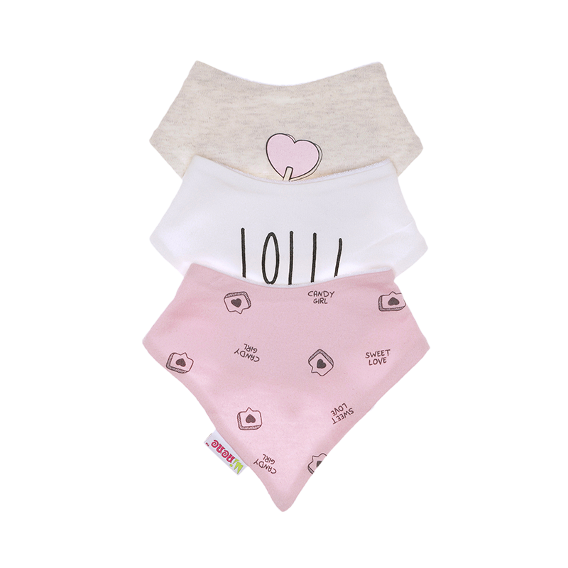 Each set include three bibs made from 100% cotton with a towel cotton reverse. Popper closure. Pink, White and marl bibs. Lollipop design.