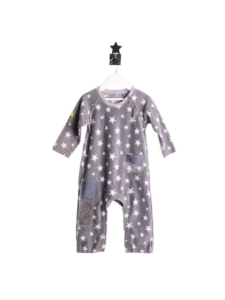 Unisex Fleece Romper Sleepsuit - Grey with white stars