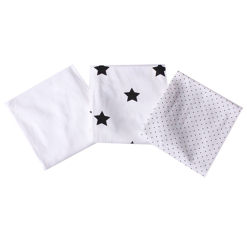 3 Burp Cloths- White with Black Star Print, White with Black Dots & plain white.