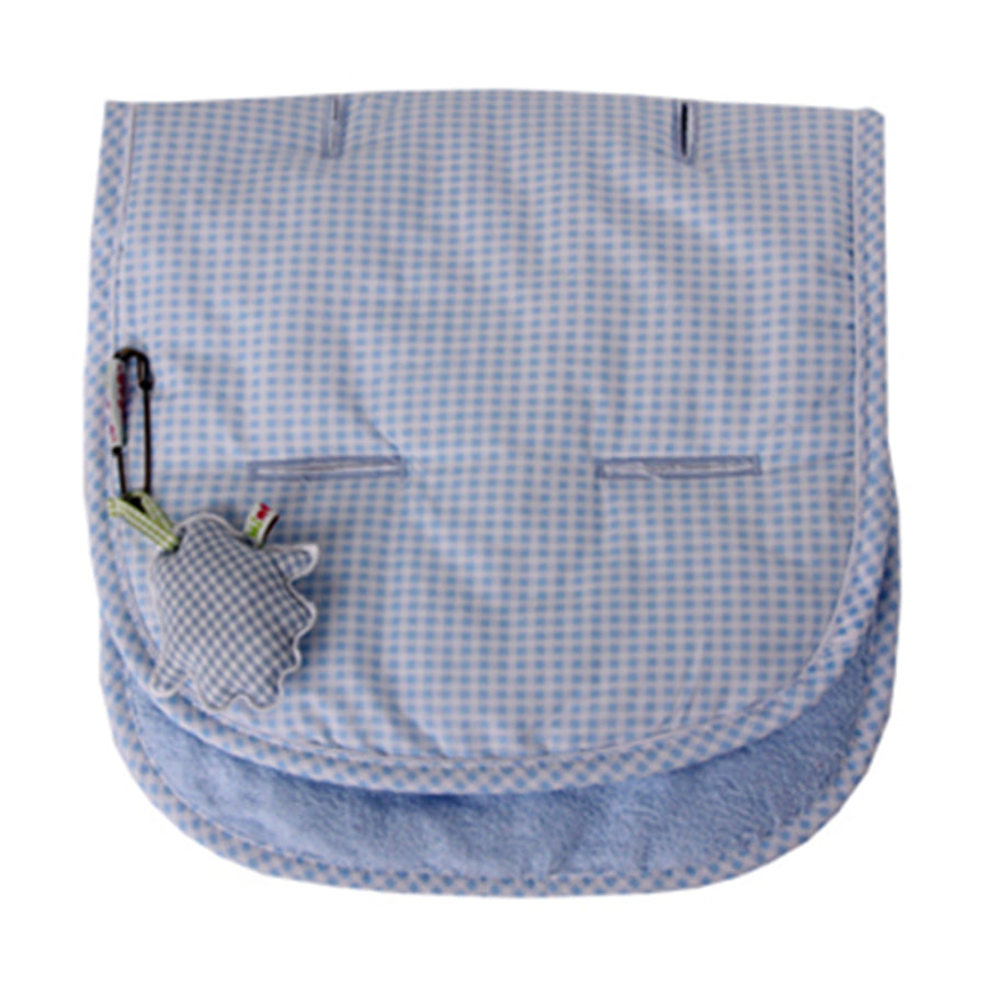 Blue with White check print and White towelling on reverse. Pushchair / Car Seat