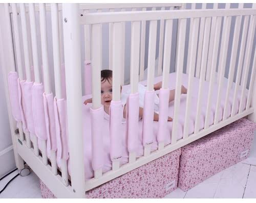 PACK OF 5 pink cot bumpers
