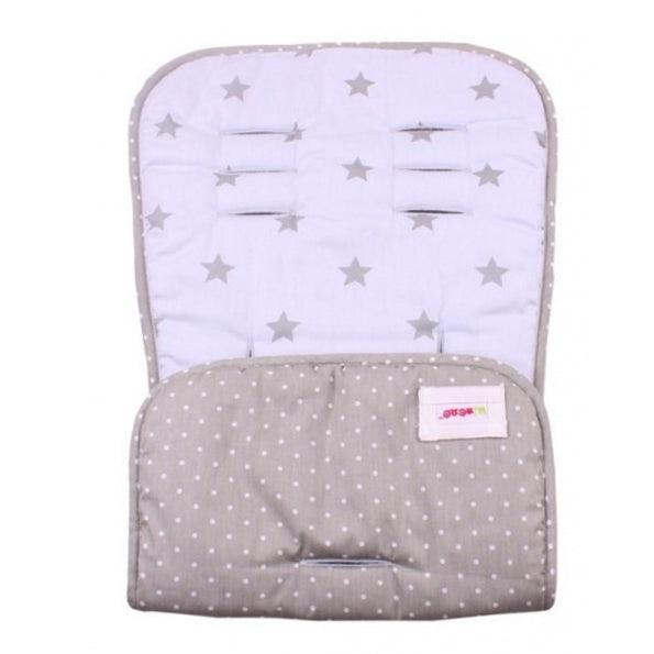Universal Reversible Pushchair Liner - Blue Fabric and Grey Star Print