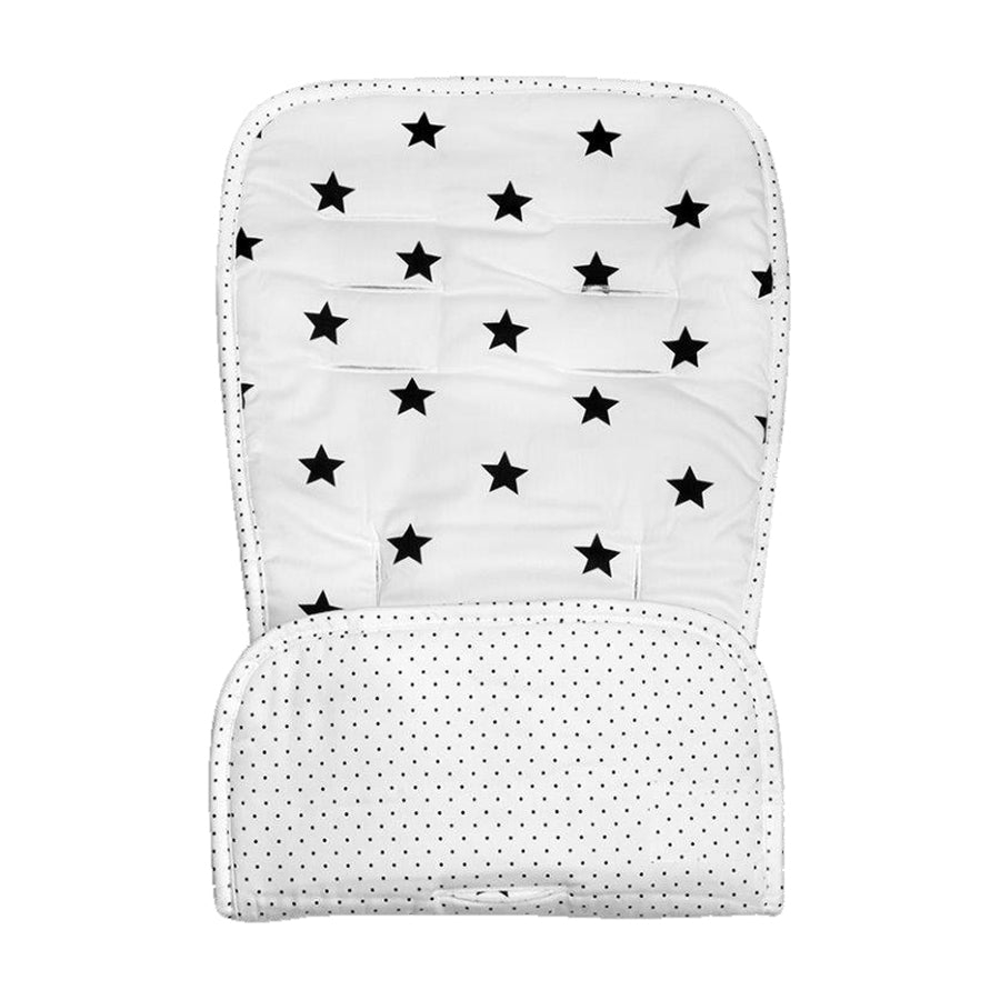 Universal Reversible Pushchair Liner - Cream and Black Stars