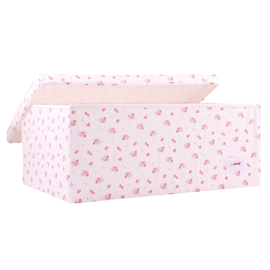 Fabric Storage Box, Large 60*40*25cm Size, Rigid Sides, Cream Fabric with Pink Floral Print, Lidded