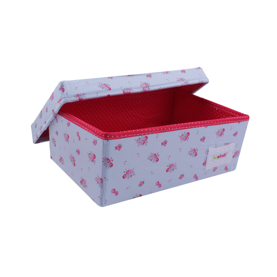 small box in blue floral with red polka dot lining
