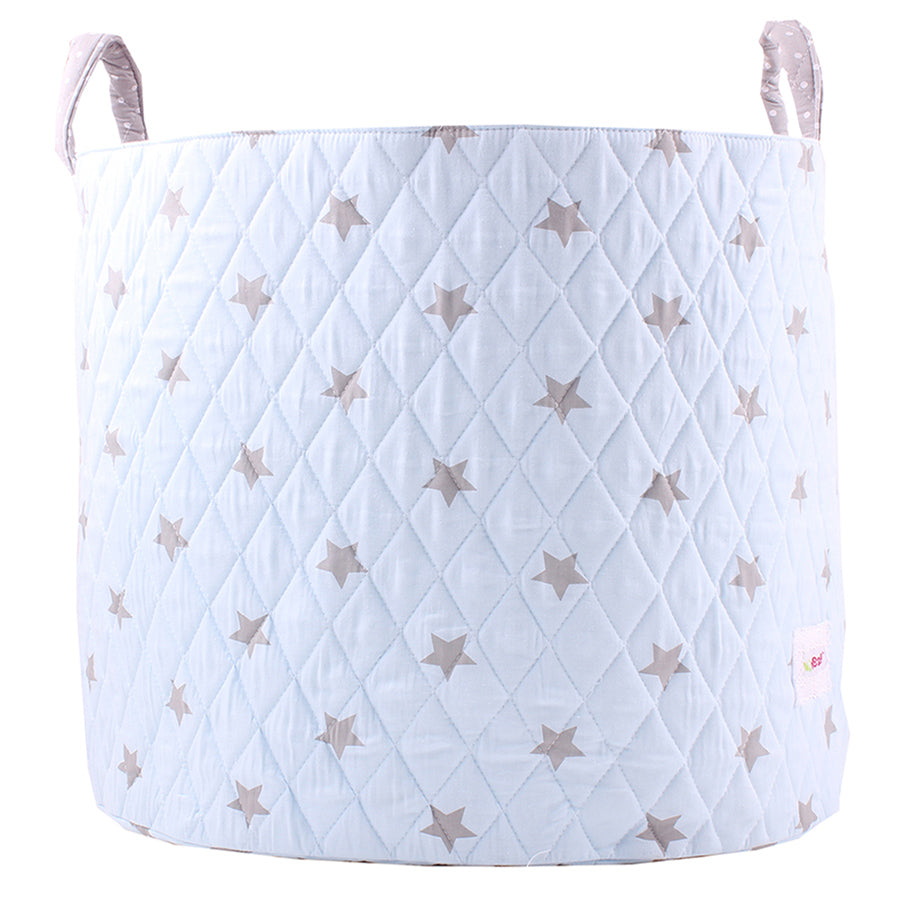 Fabric Storage Basket, Large 44cm Size, Handles, Light Blue Fabric with Grey Star Print