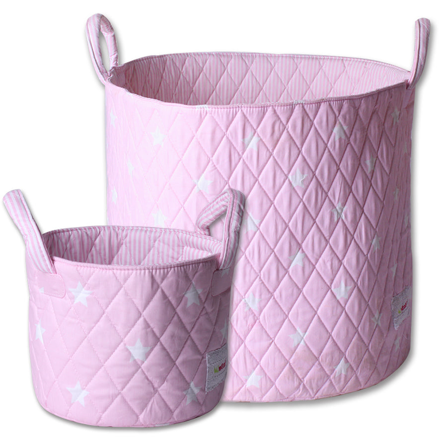 Small and large storage basket set in Pink with White Stars