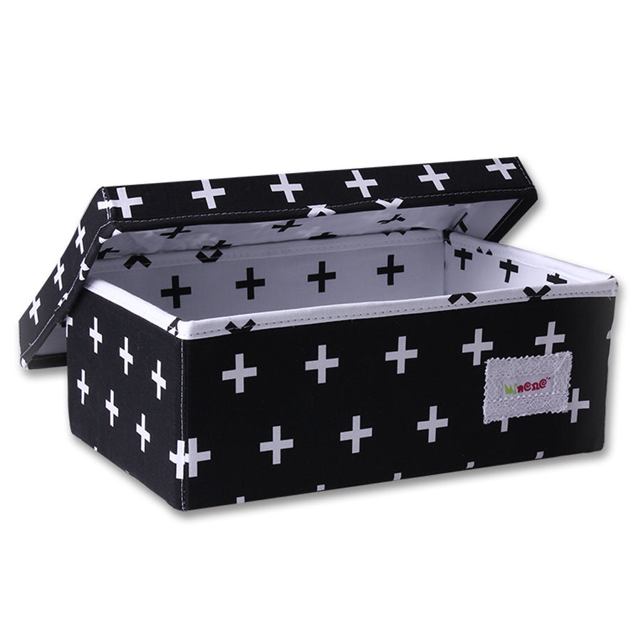 Fabric Storage Box Small 32cm Size, Rigid Sides, Black Fabric with White Crosses Print