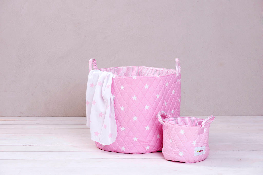2 piece Storage Set - Baby Pink and White Stars