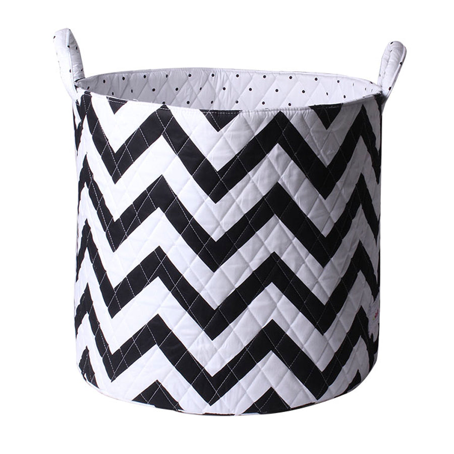 Large Storage Basket - Black and White Chevron