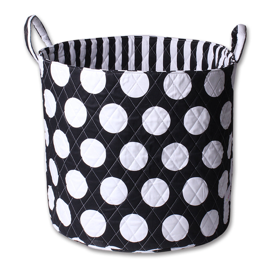 Fabric Storage Basket, Large 44cm Size, Handles, Black Fabric with White Circles Print