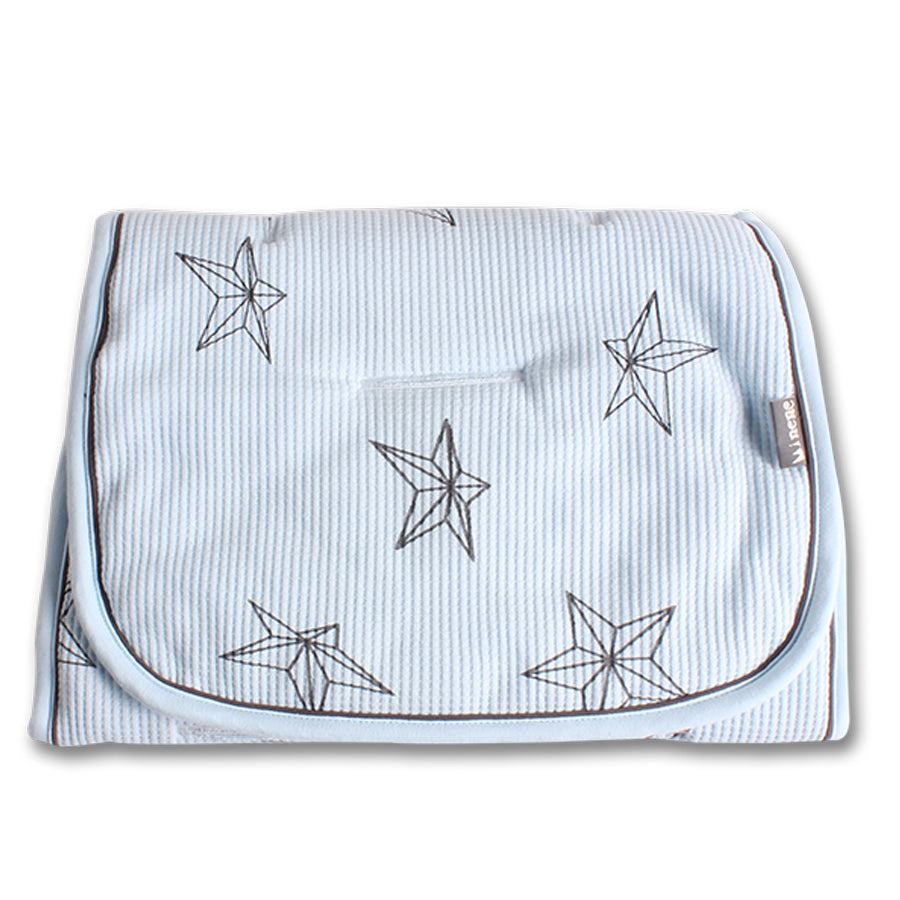 Baby Blue with Grey Stars print. Plain blue on reverse.