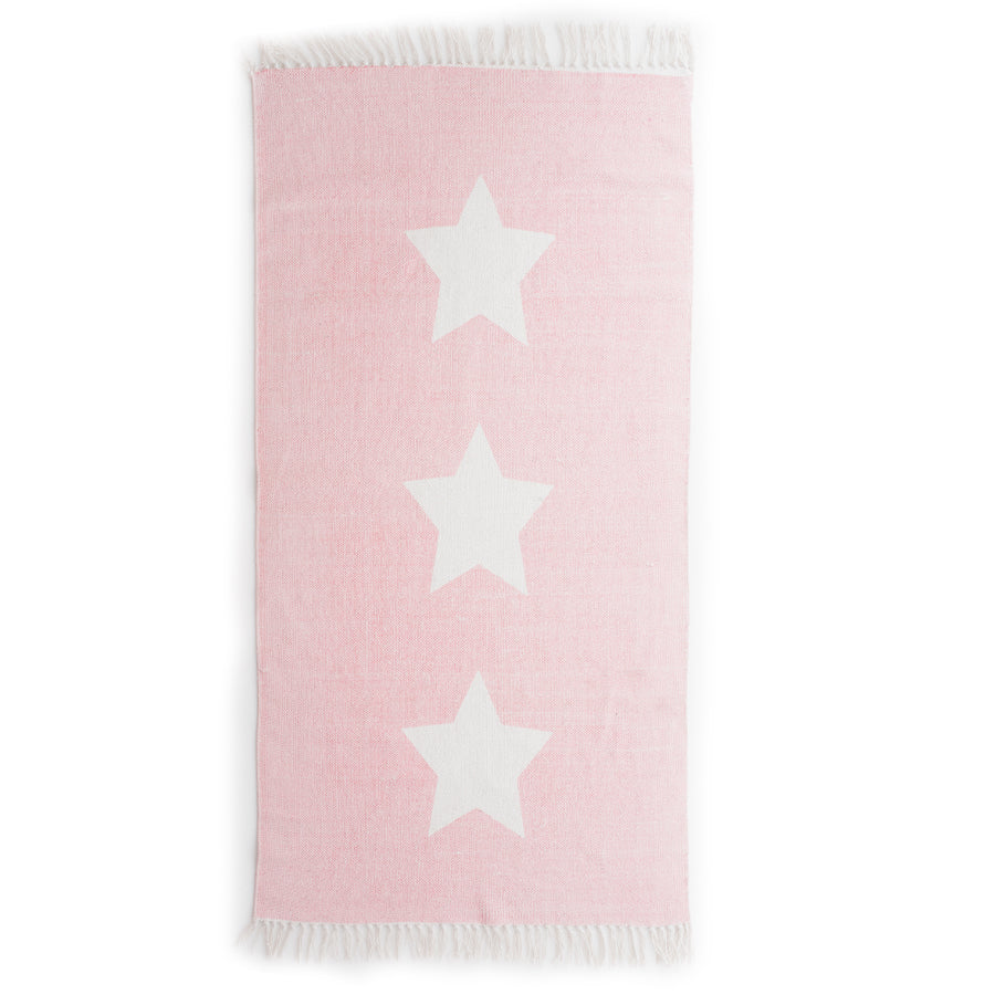 Pink with white star rug