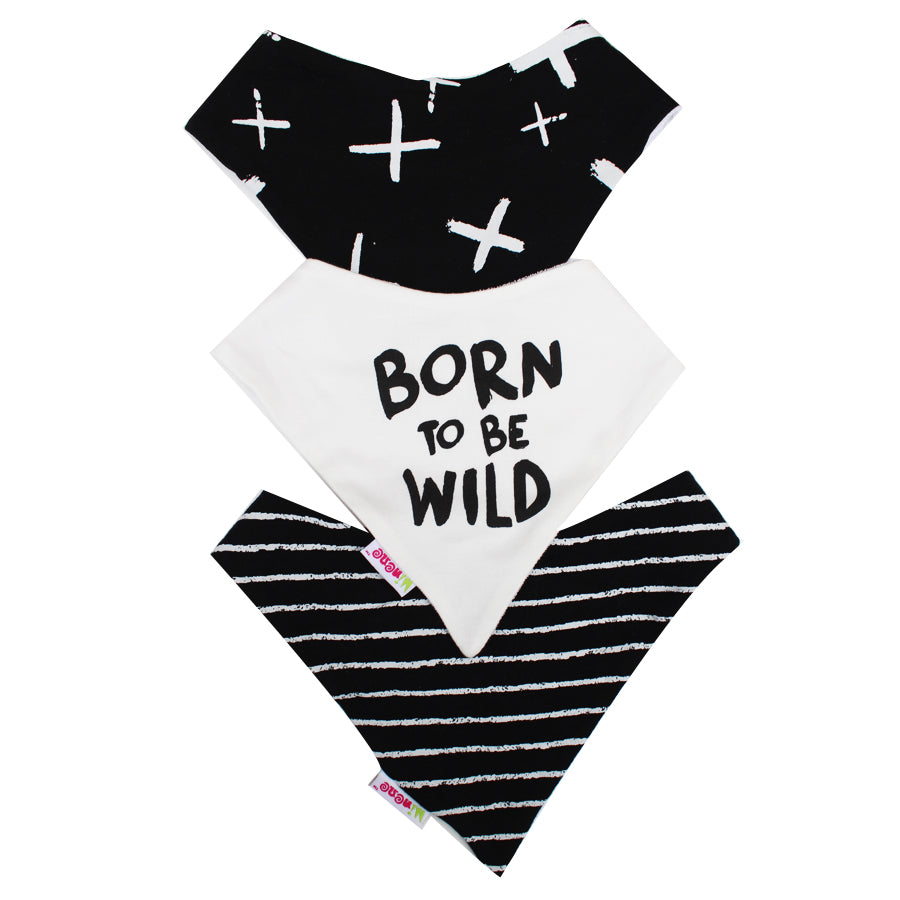Black With White crosses, Born To Be Wild Text, Black & White Stripes Bandana Bib Trio