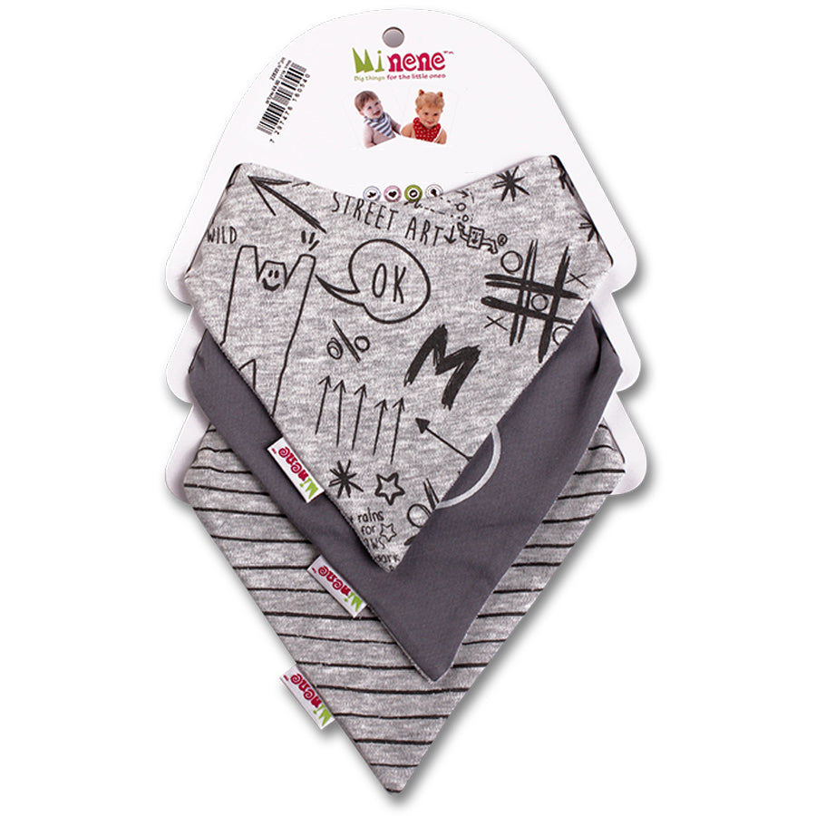 Graffiti Print, Boo Text, Black & Grey Stripes Bandana Bib Trio
