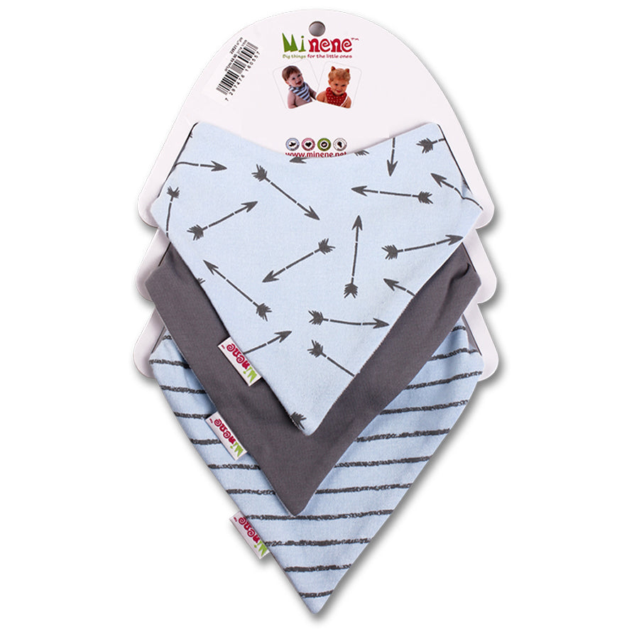 Arrow Print, Be Brave Text, Light Blue & Grey Stripes Bandana Bib Trio