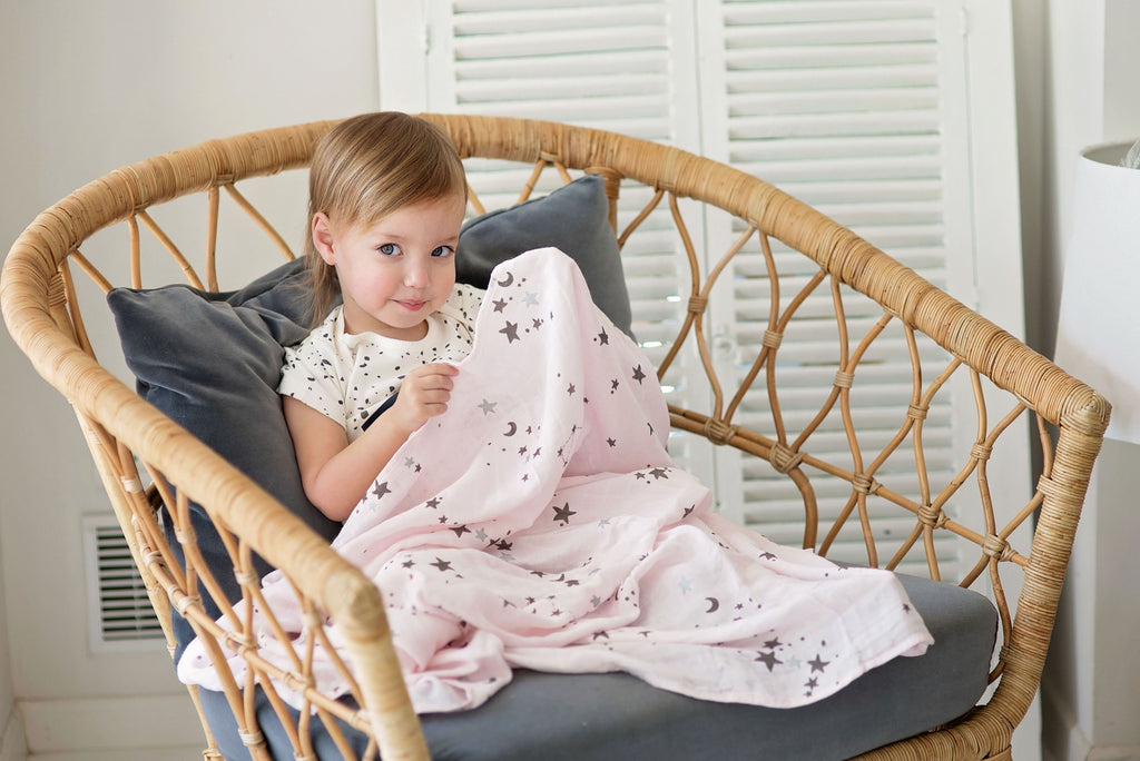 Bamboo swaddle blanket Pink with Gold and Silver Print (Space Cat and Stars)