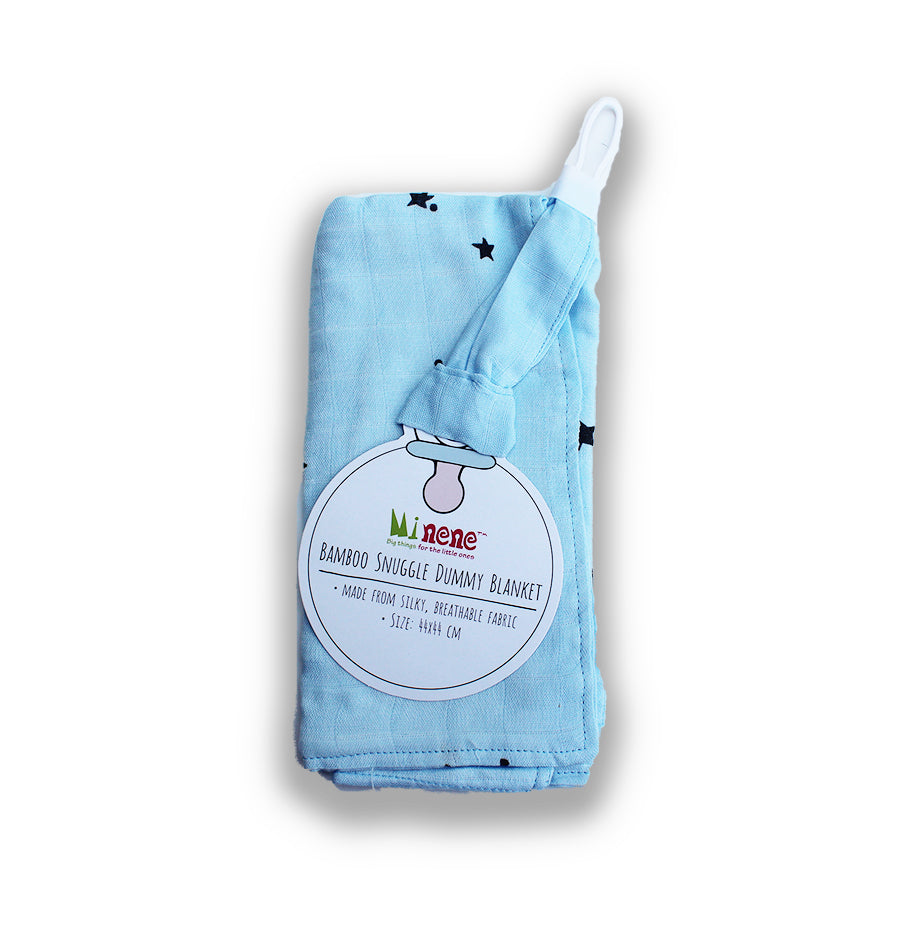 Bamboo Muslin Square with Loop to Attach Dummy or Toy, Blue with Star Print
