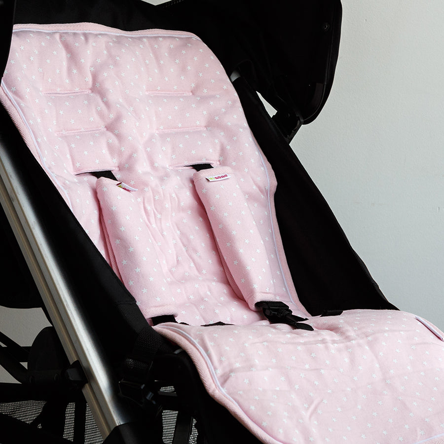 Universal Pushchair Liner + Safety Strap Set - Pink Stars