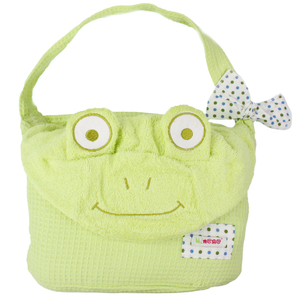Bright Green Towel with Embroidered Cute Frog Face on Hood and Green Floppy Eyes