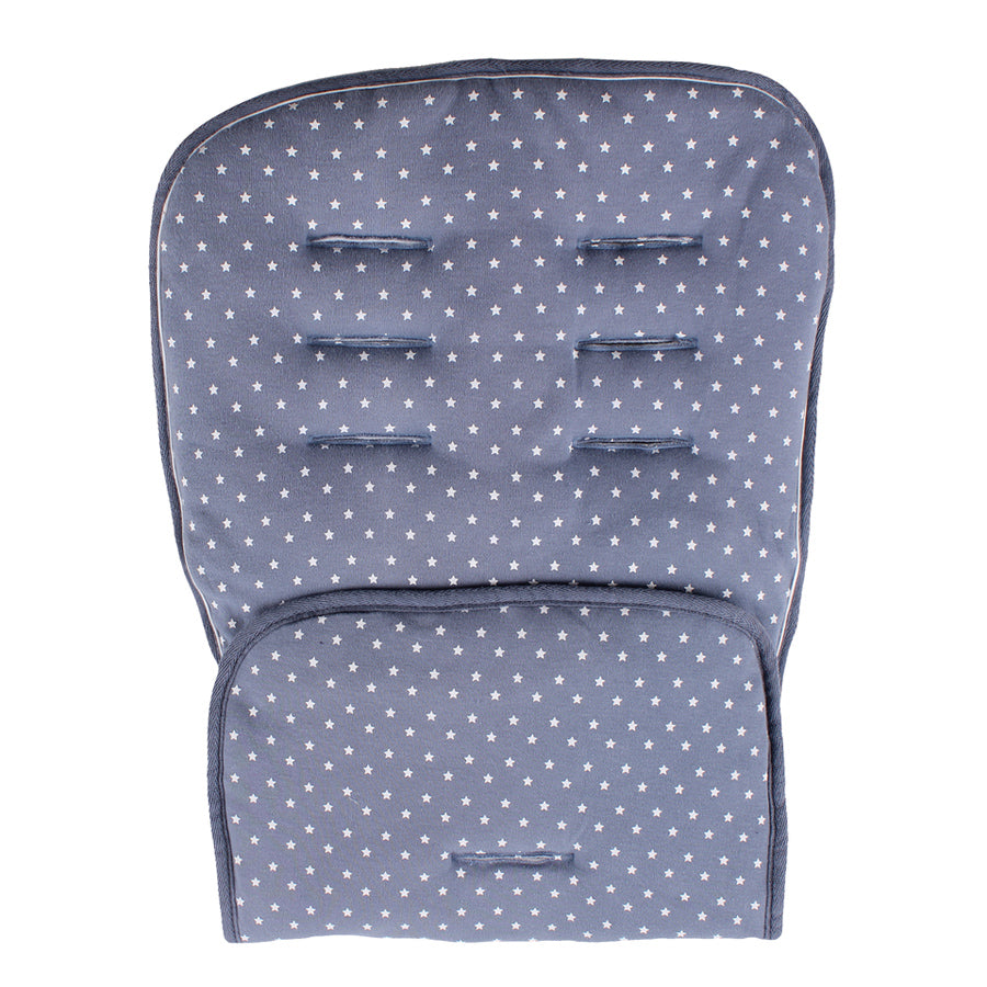 Blue with Small White Stars on Both Sides Pushchair and Car Seat Compatible