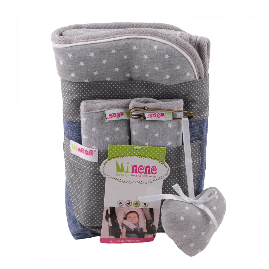 Grey with white stars. Car Seat/ Pushchair.