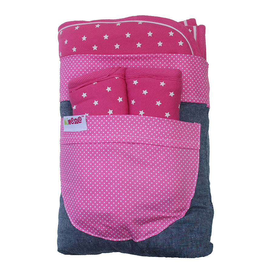 Fuchsia with White Stars. Car Seat/ Pushchair.