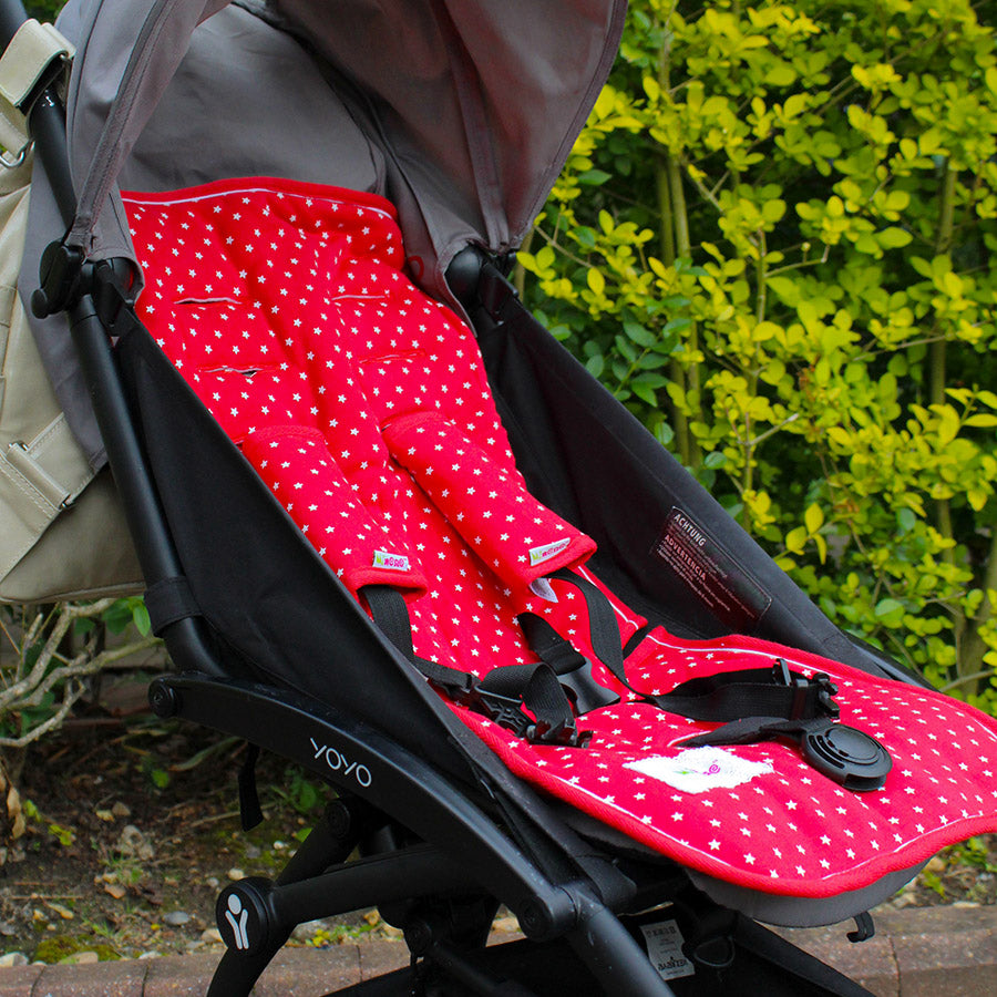 Pushchair / Car Seat Liner + Safety Strap Set - Red with White Stars